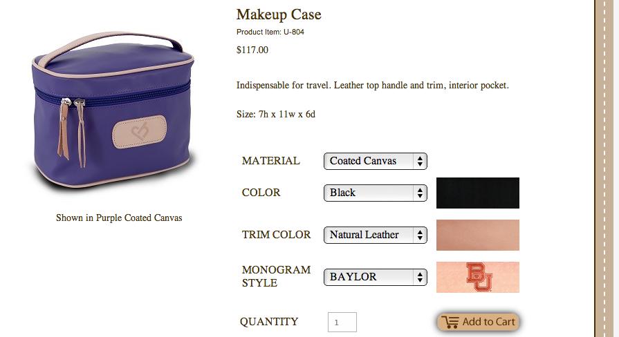 John Hart Make Up Bag Makeup bag, Natural leather
