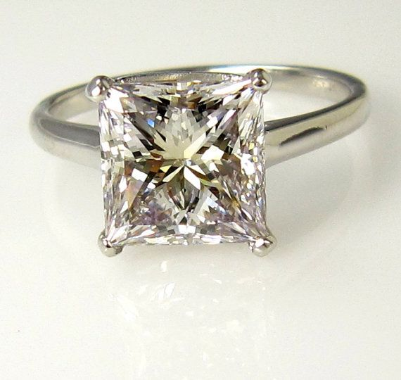 Huge...4.10ct Square Princess Cut VINTAGE Estate Solitaire Diamond Wedding Engagement Ring in Platinum, EGL USA