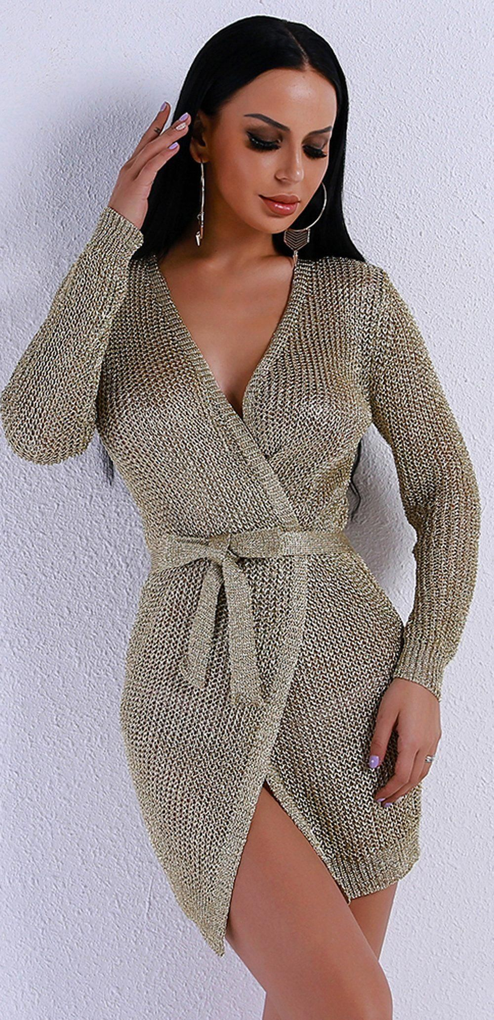 Product details cardigan tie up metallic knitted crochet