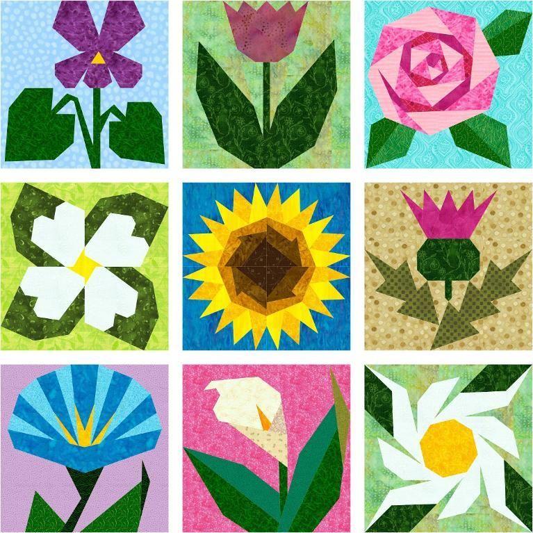 Paper pieced flower yelomdiffusion gaeas garden 9 paper pieced flowers flowers paper piecing and mightylinksfo