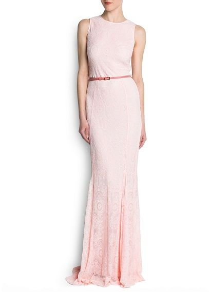Belted embroidered tulle gown