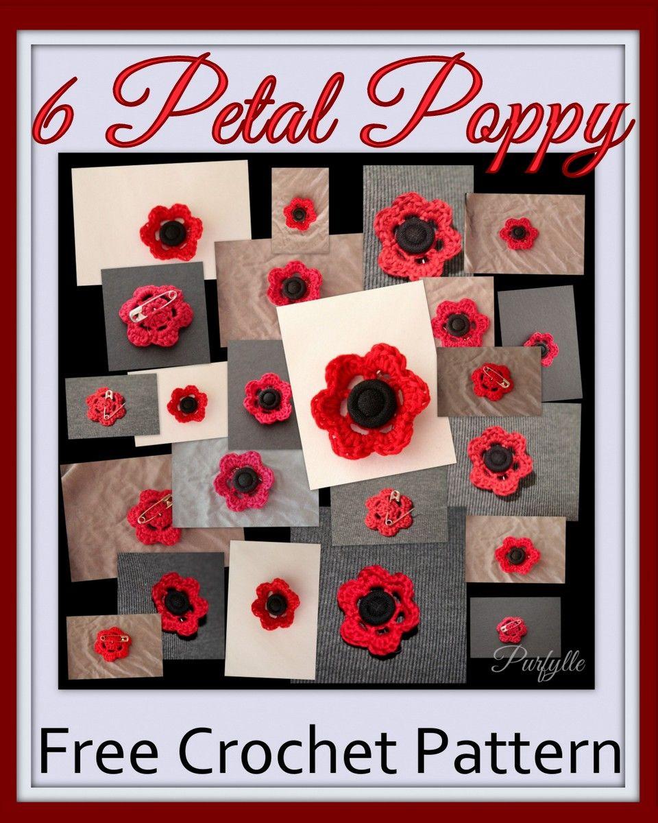 Purfylle free crochet pattern 6 petal poppy flower tutorial purfylle free crochet pattern 6 petal poppy flower tutorial bankloansurffo Image collections