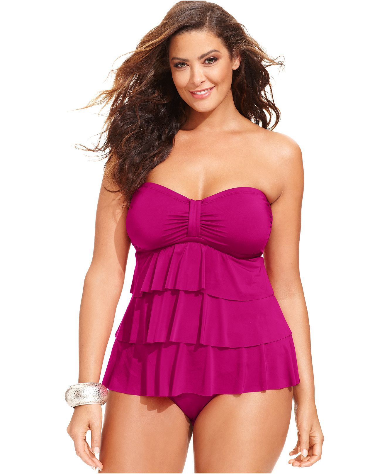 cc69b0bbe64 Kenneth Cole Reaction Plus Size Tiered Tankini Top & Banded Hipster Bikini  Bottom - Plus Size Swimwear - Plus Sizes - Macy's