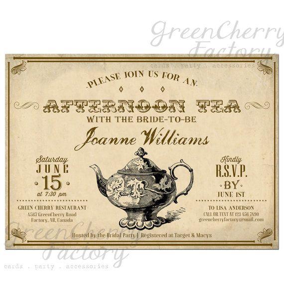 Vintage Bridal Tea Party Invitation