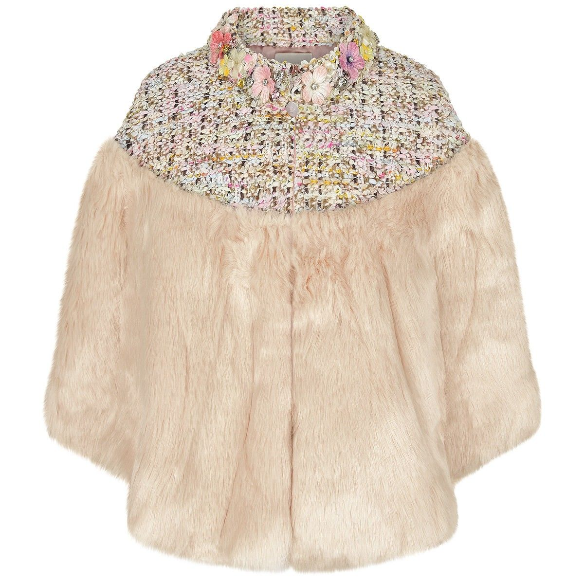 Mischka Aoki 'The Sweetest' Faux Fur Stole With Swarovski Crystals