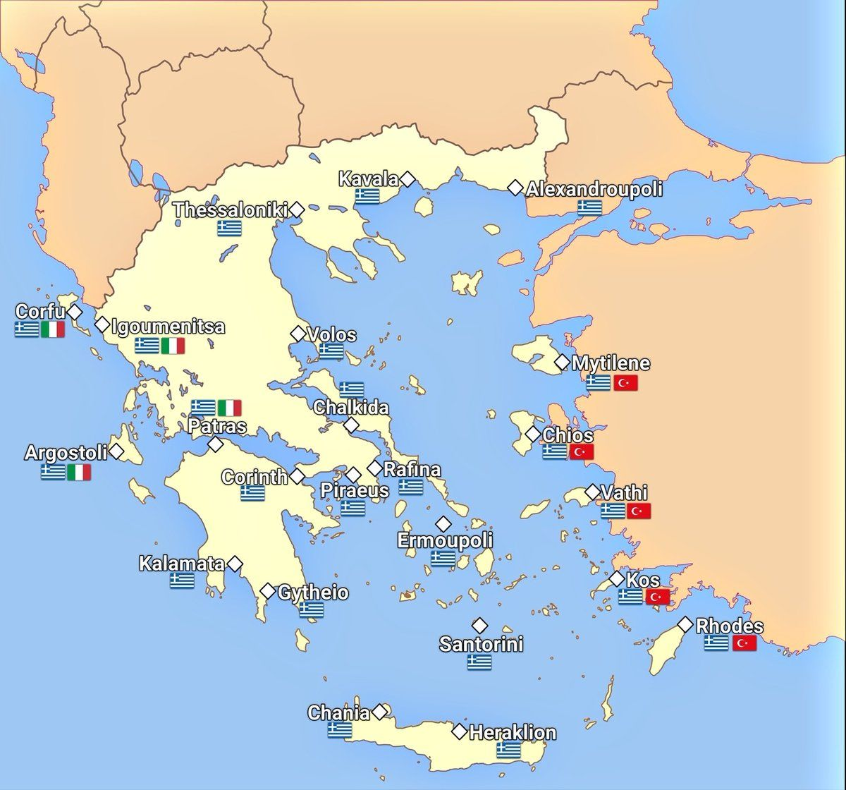 Map Of The Most Important Greek Ports Their Routine Passenger