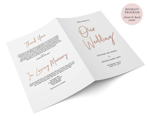 rose gold folded wedding program booklet double sided printable