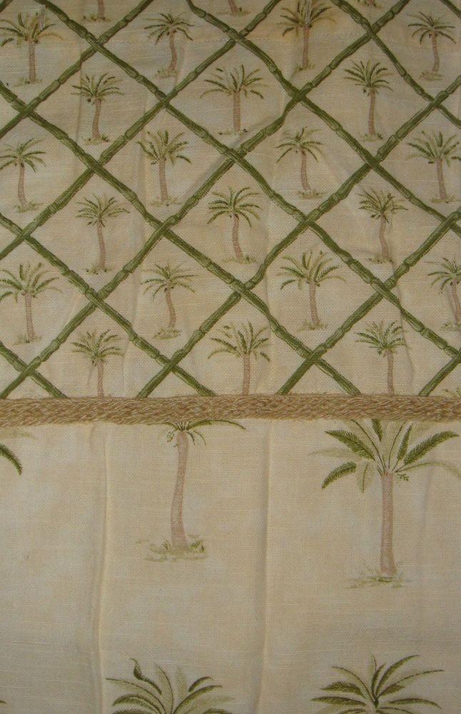 Waverly Tahiti Palm Trees Bamboo Fabric Shower Curtain Yellow ...