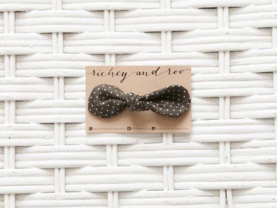 Dark Polka Dot Hair Bow by RicheyandRoo on Etsy, $5.00