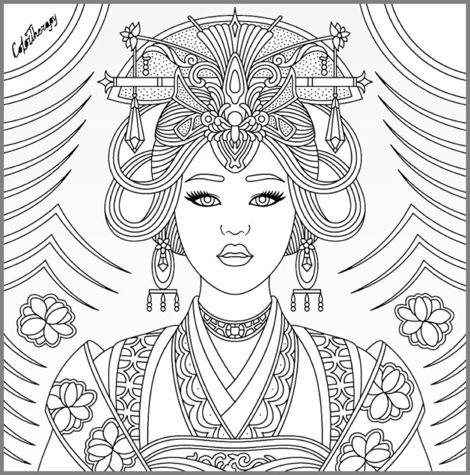 adult coloring pages for women | Asian beauty coloring page | Beautiful Women Coloring ...