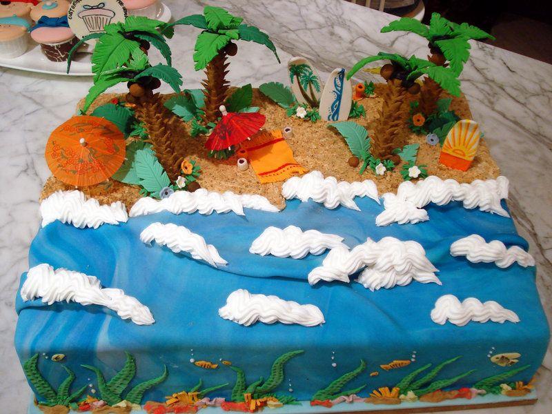 Tropical Beach Cake By Sliceofcake On Deviantart Beach Cakes Island Cake Pool Cake