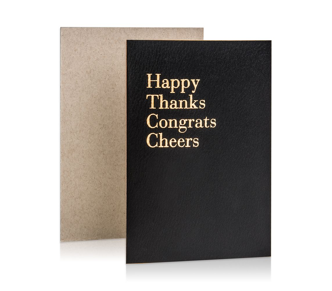 All In One Black Greeting Card Leather Like Greeting Card Gold