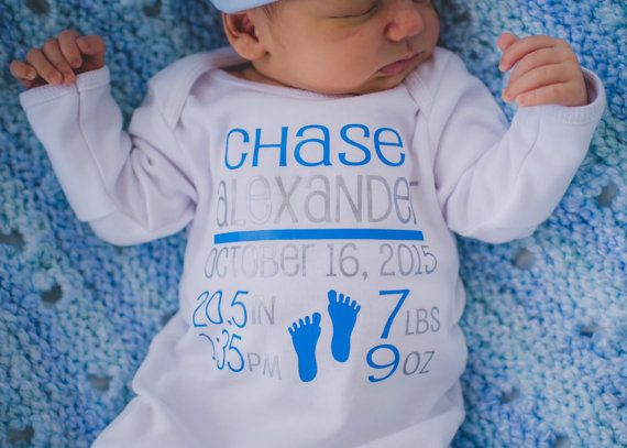 Birth announcement - name gown - Newborn boy coming home outfit - Baby Boy Birth Stats bodysuit - New mom gift - Hat Sold Separate #premiebabyhats