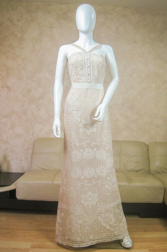 Cream lace wedding dress with a train, bridal dress made from ...