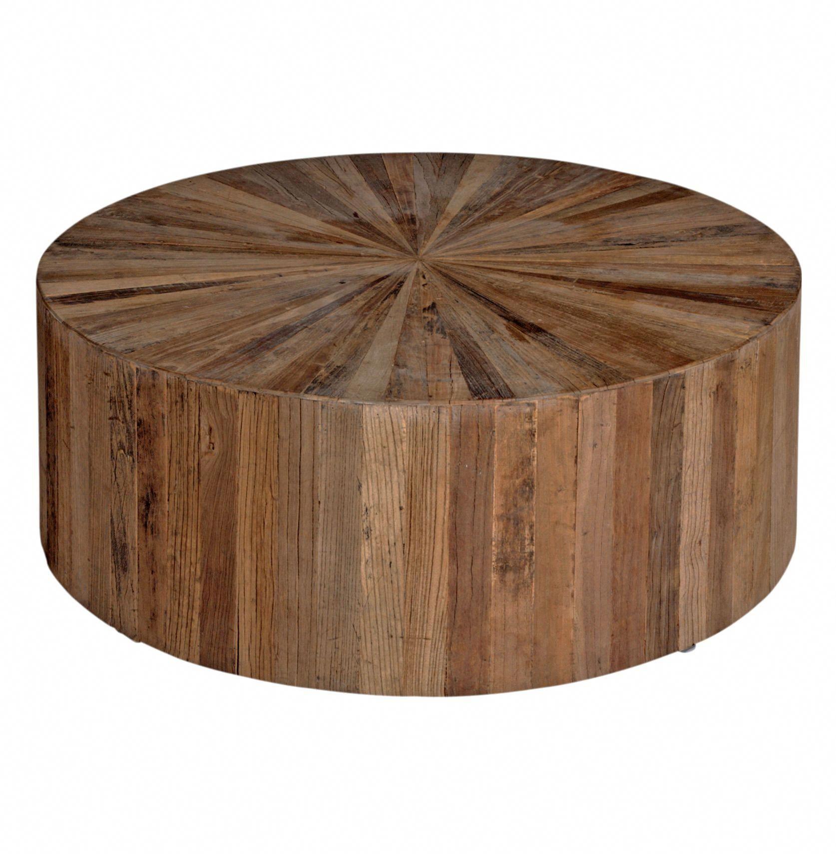 Cyrus Rustic Lodge Natural Brown Reclaimed Elm Wood Drum Round Block Coffee Table Drum Coffee Table Circular Coffee Table Round Wood Coffee Table [ 1710 x 1674 Pixel ]