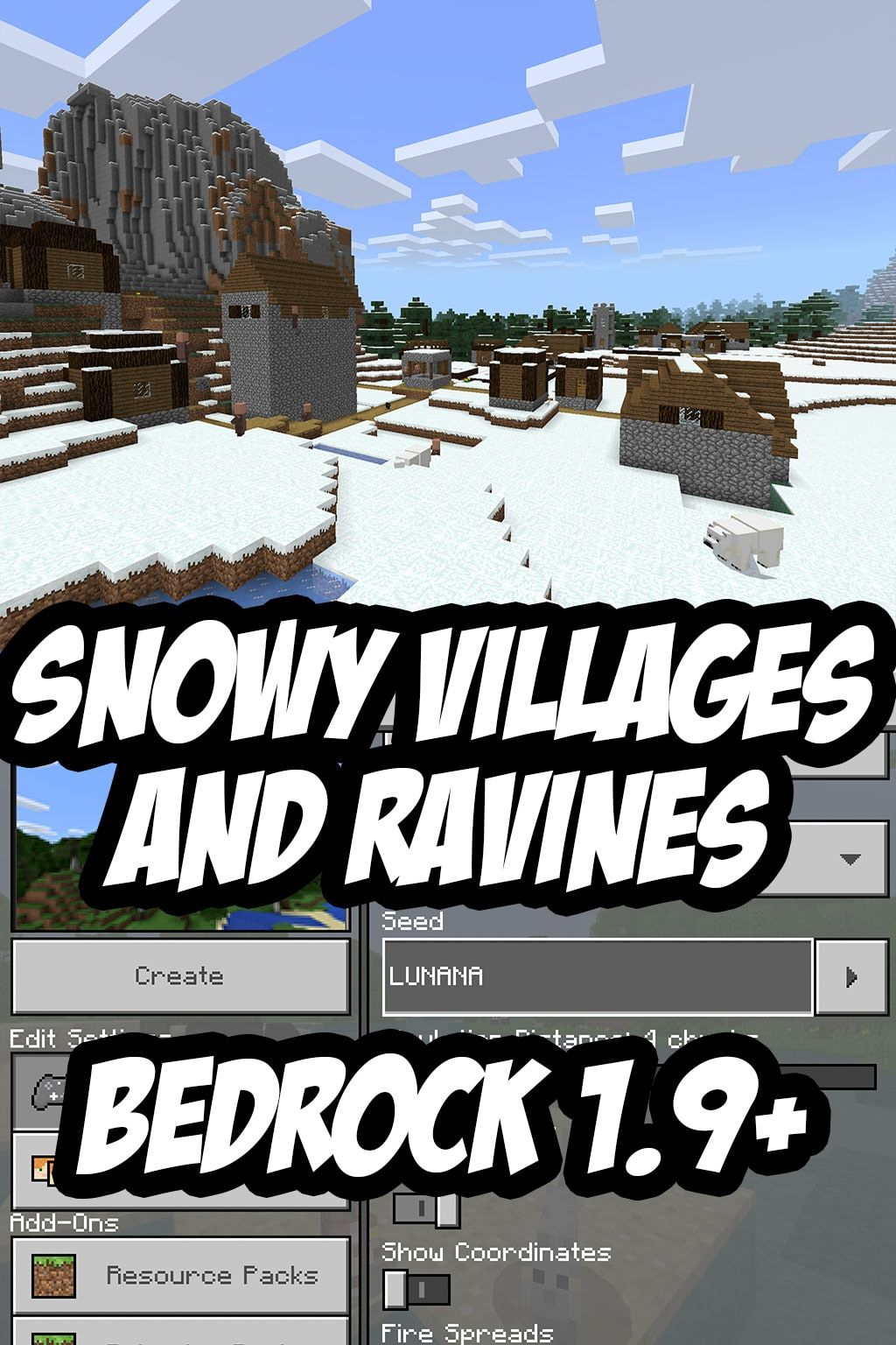 Minecraft Pe Bedrock Edition Snowy Ravine Seed Lunana Works On 1 9 And Many Older Versions Too Minecraft Pe Minecraft Blueprints Cool Minecraft Seeds