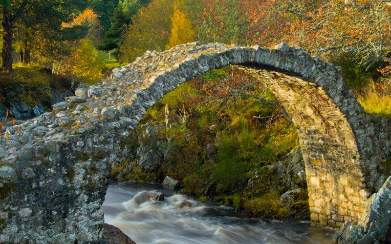 Stone Packhorse Bridge. Carrbridge, the Highlands, Scotland. Circa 1717. The Oldest Stone Bridge in Scotland.