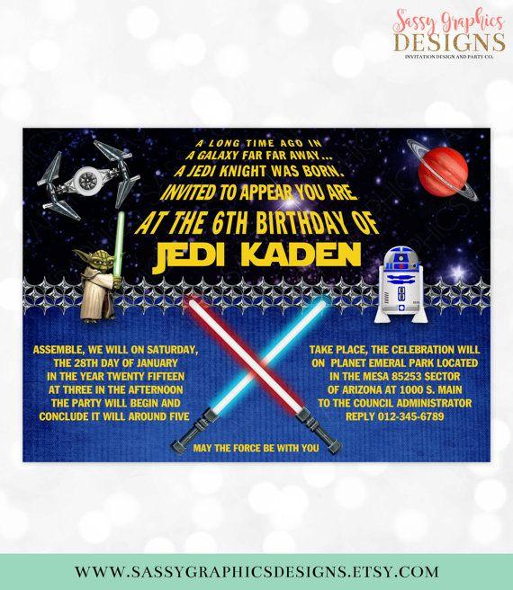 Star Wars Birthday Invitation Boy Birthday Invite Birthday