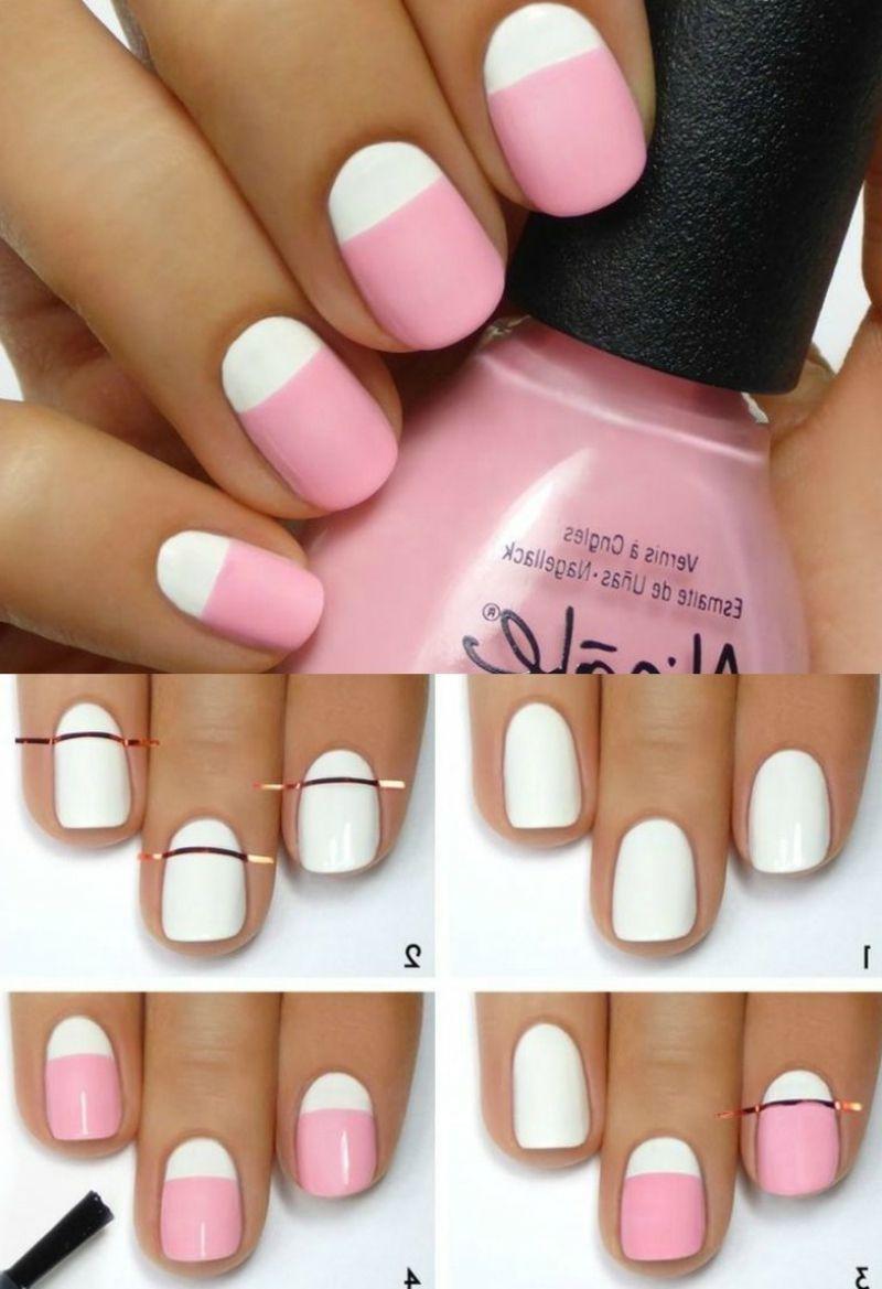 Rosa nägel french reverse modern bilderanleitung nail art designs