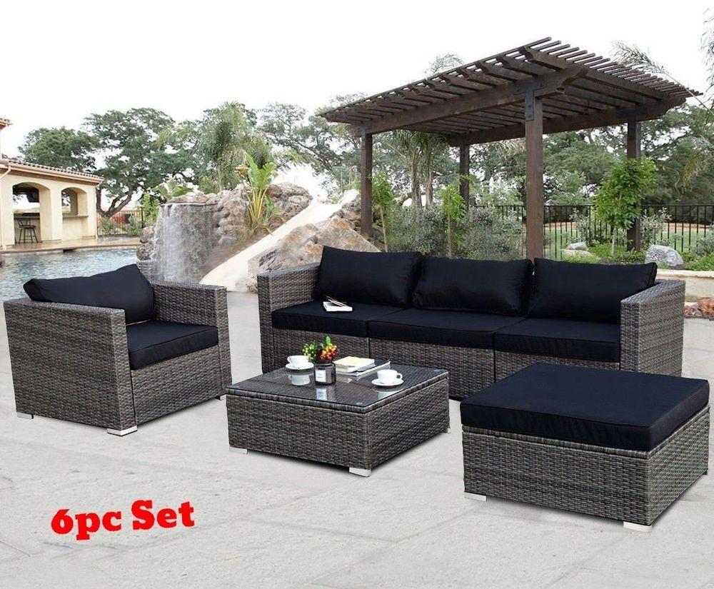 Patio Furniture Sets Clearance Rattan Wicker Small Sectional Black