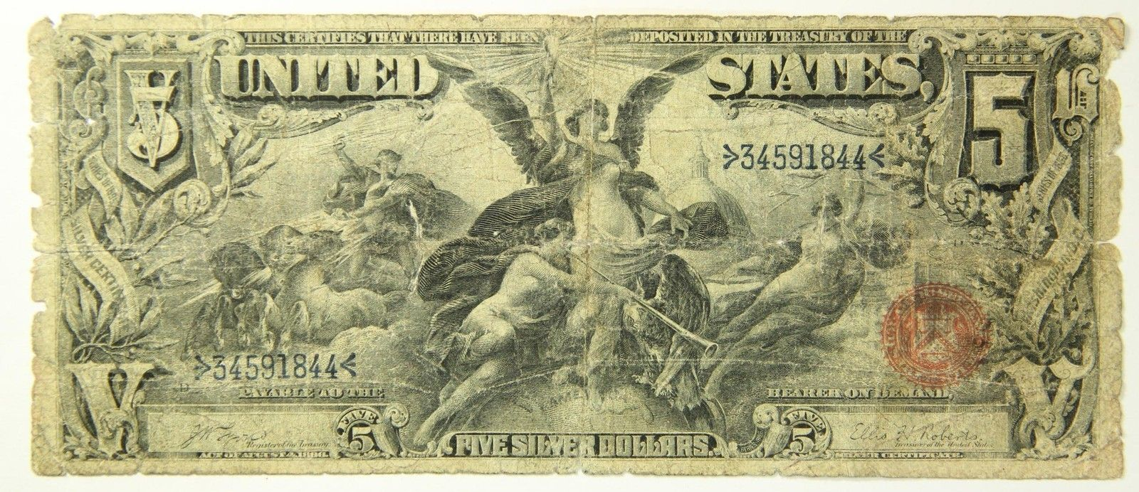 1896 Five Dollar 5 Bill Educational Note Silver