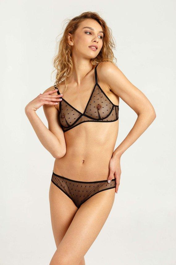 026c00715 Black mesh underwear - Transparent lingerie set - Black mesh lingerie -  Black mesh bra - Black mesh