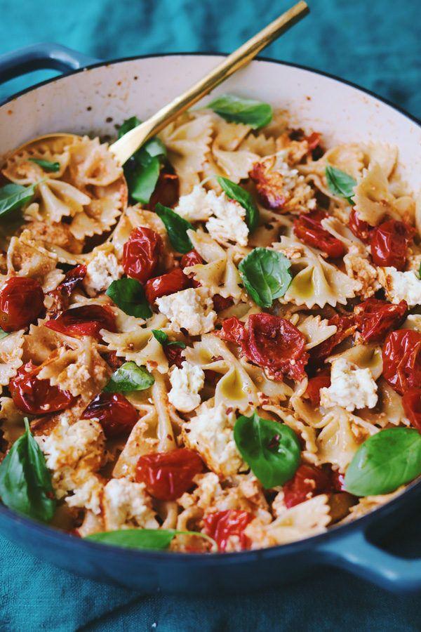 Baked Feta Pasta with Cherry Tomatoes Basil, & Garlic