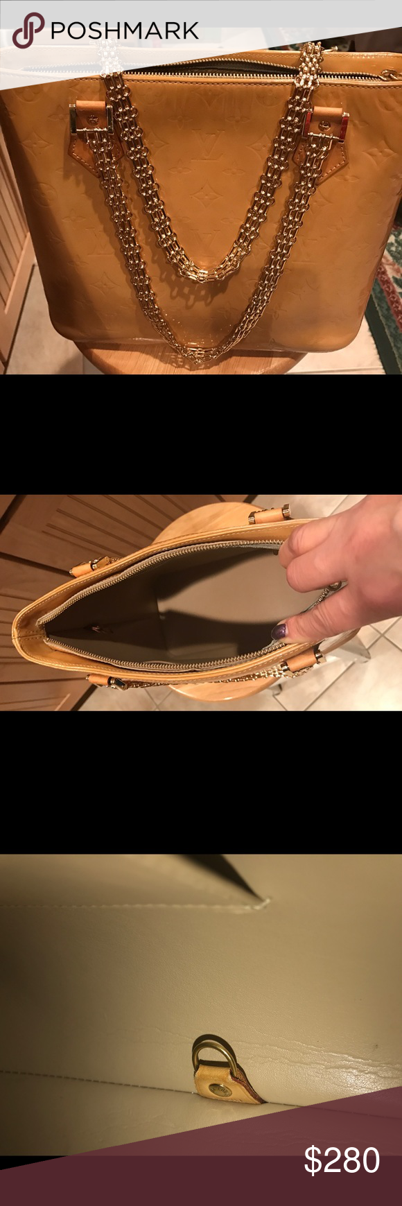 Louis Vuitton Houston Yellow Tote Bag Authentic Louis Vuitton Houston Yellow or Gold Tote Bag, I bought this bag to one of Posh seller, I never used it at all Louis Vuitton Bags Totes