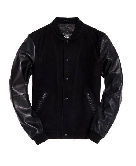 0a9f4f350 Varsity Wool Leather Bomber Jacket | My Man's Style | Black bomber ...