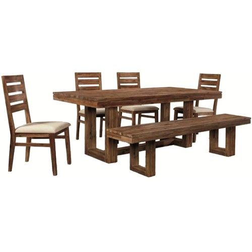 Cresent Fine Furniture Waverly Six Piece Modern Rustic Rectangular Trestle Table With Ladder Side Chairs Dining Rustic Kitchen Table Sets Rustic Kitchen Tables