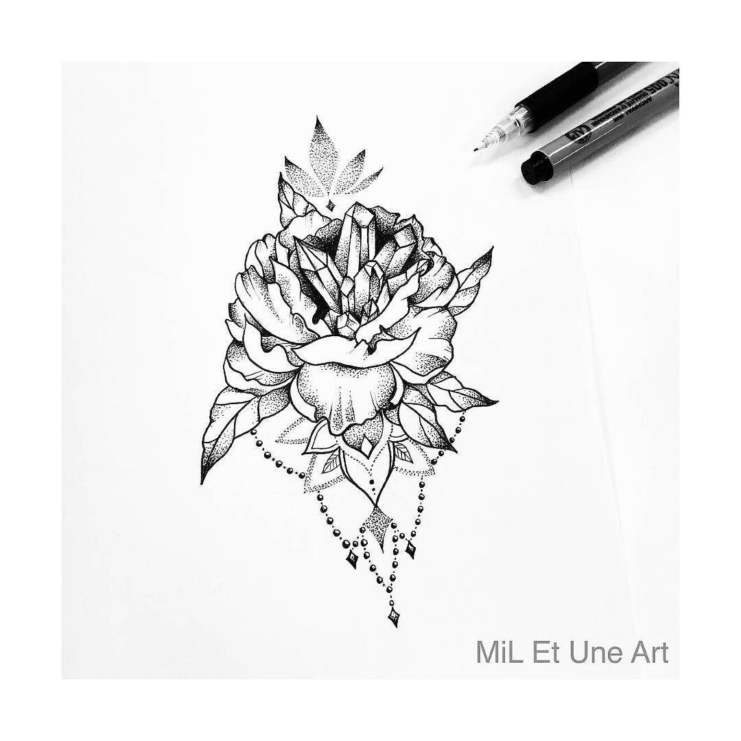 Peony And Crystals Cluster Tattoo Design By Mi Li3 Art