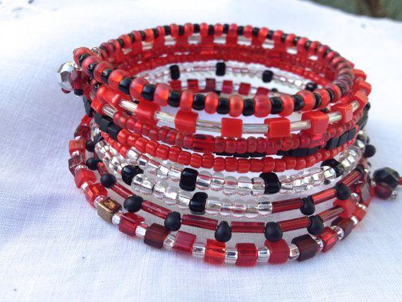 Layered Beaded Wrap Memory Wire Bangle by KimberlysCraftini, $25.00