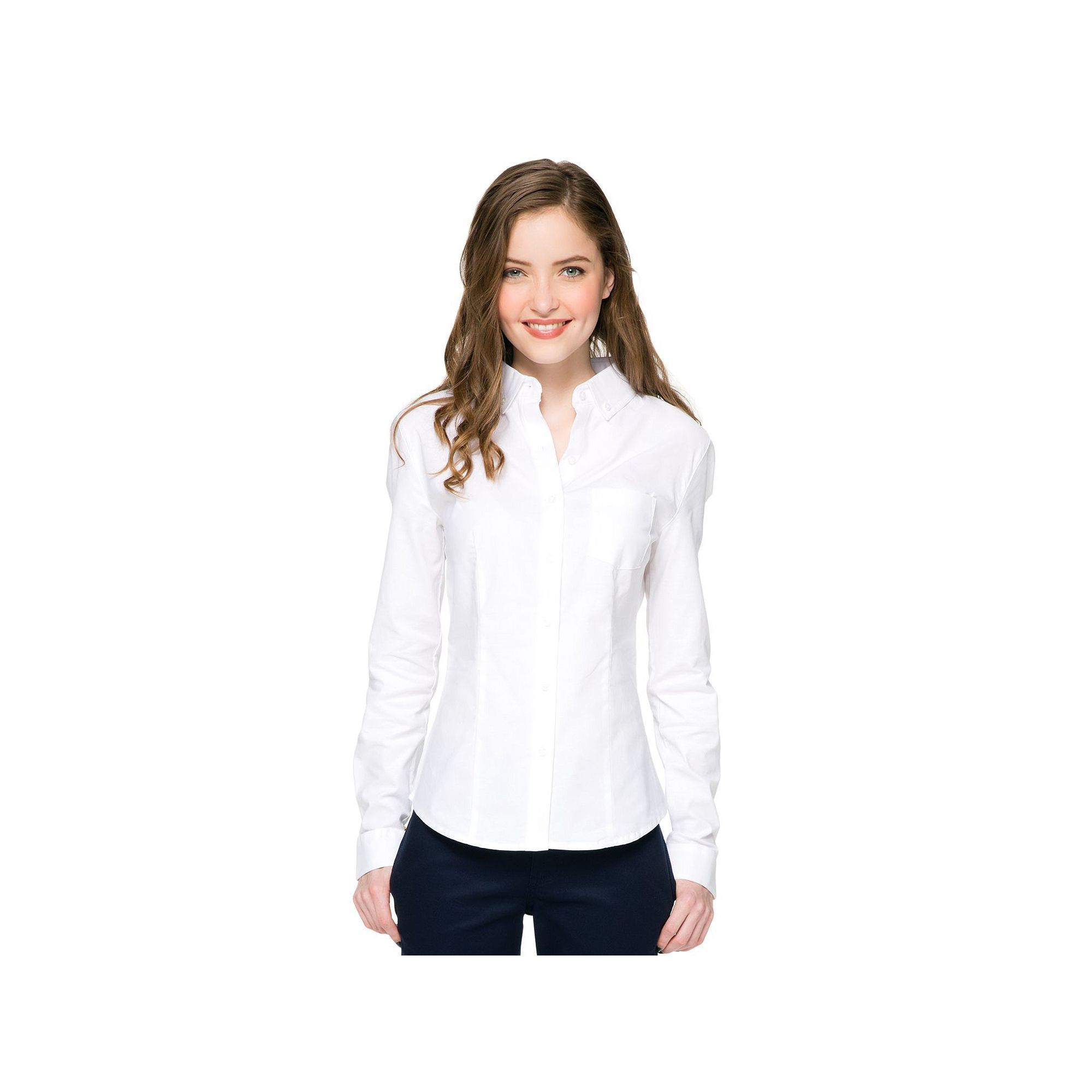 f298957f Lee Uniforms Juniors' Long Sleeve Stretch Oxford Top, Teens, Size: Medium,  White