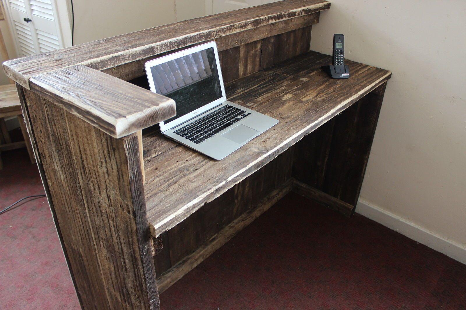 hairdresser salon spa barber hotel rustic solid driftwood wood reception desk - Salon Reception Desk