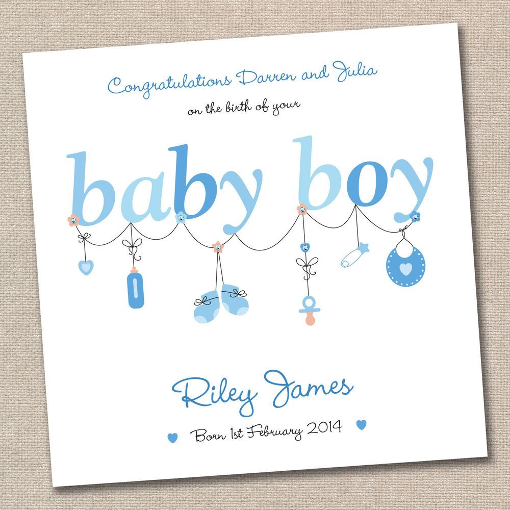 Personalised New Baby Boy Handmade Greeting Card