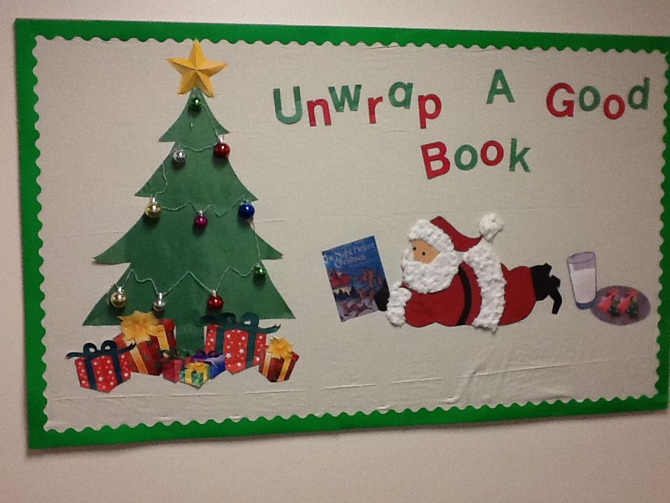 Christmas Tree Display Board.Christmas Bulletin Board Unwrap A Good Book Love This