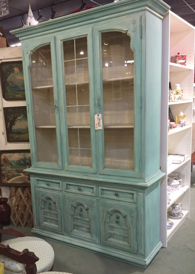 Thomasville China Cabinet Makeover Redo Chalk Painted Aqua Blue