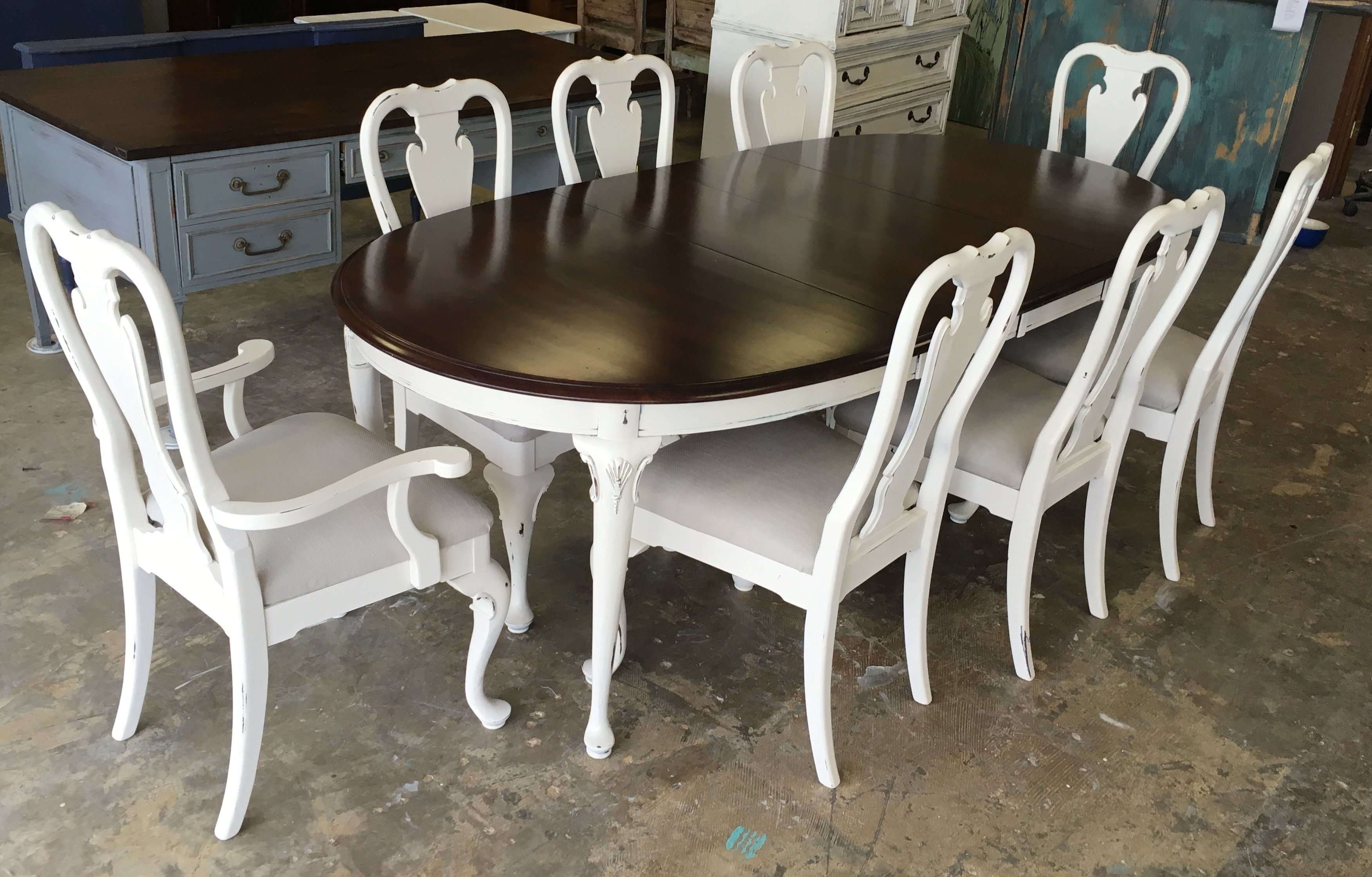 This Table Is For A Texas Sized Dining Room Lol It Is 8 Feet Long With The Leafs And Comes W Shabby Chic Furniture Shabby Chic Dining French Country Furniture