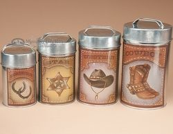 Exceptional 4 Pc. Country Tin Kitchen Canister Set   General Store (c21)