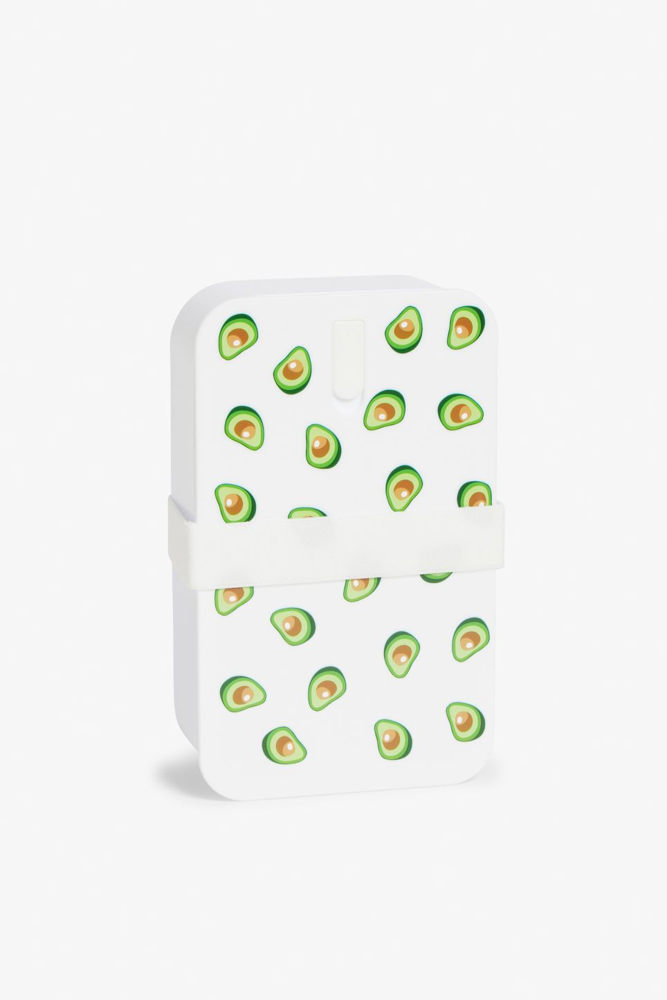 01b512aa691f A two-compartment avocado printed lunch box with a handy snap-on lid ...