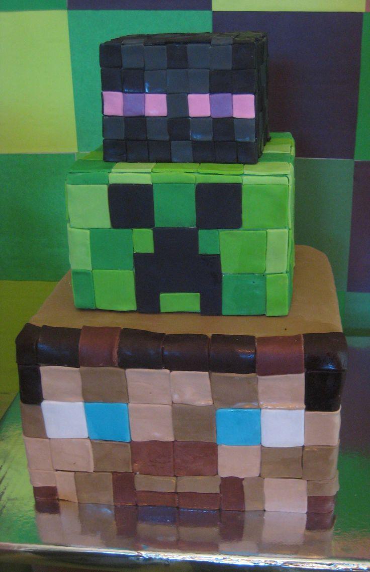 Minecraft steve head creeper head and enderman head cake - Minecraft creeper and steve ...
