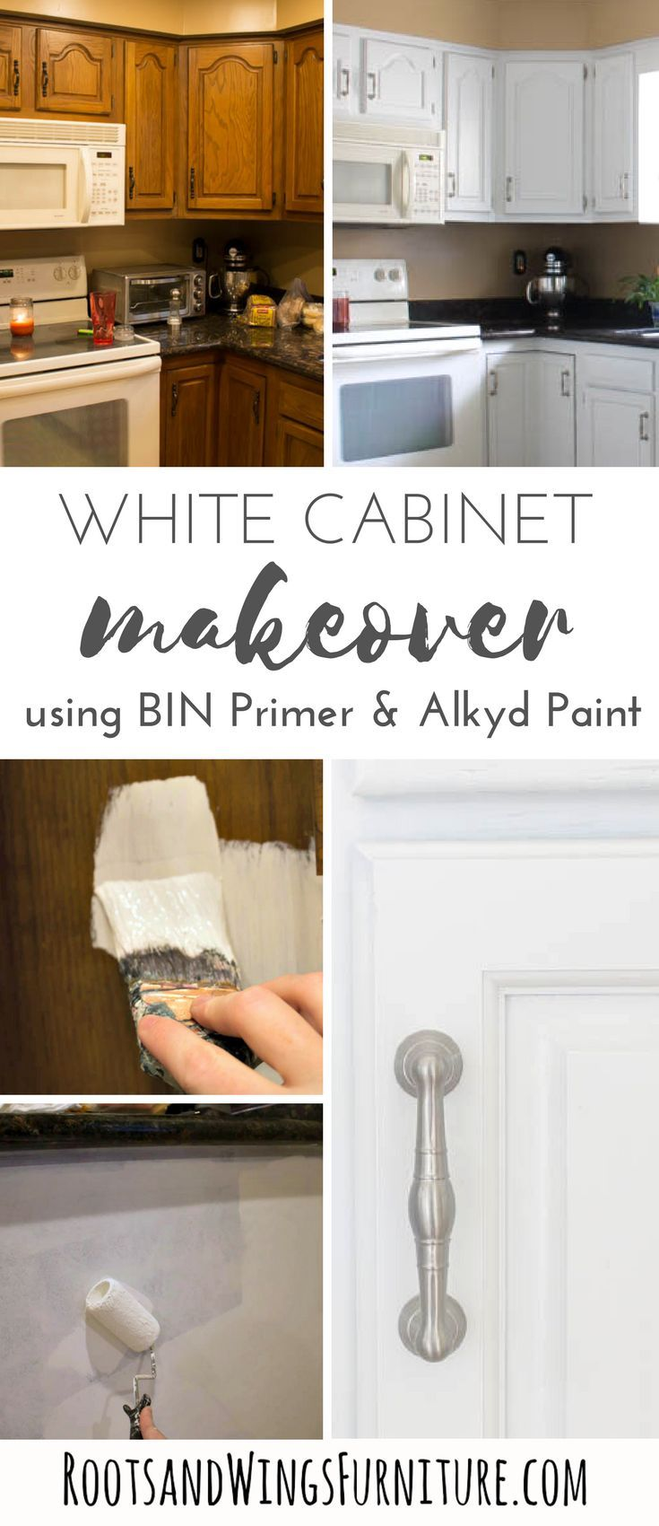 How To Paint Your Kitchen Cabinets White Roots Wings Furniture Llc Painting Oak Cabinets Cabinetry Design Painting Furniture Diy