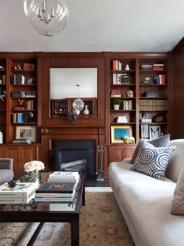 Wood Paneled Library: Wood Paneled Library With Glass Pendant
