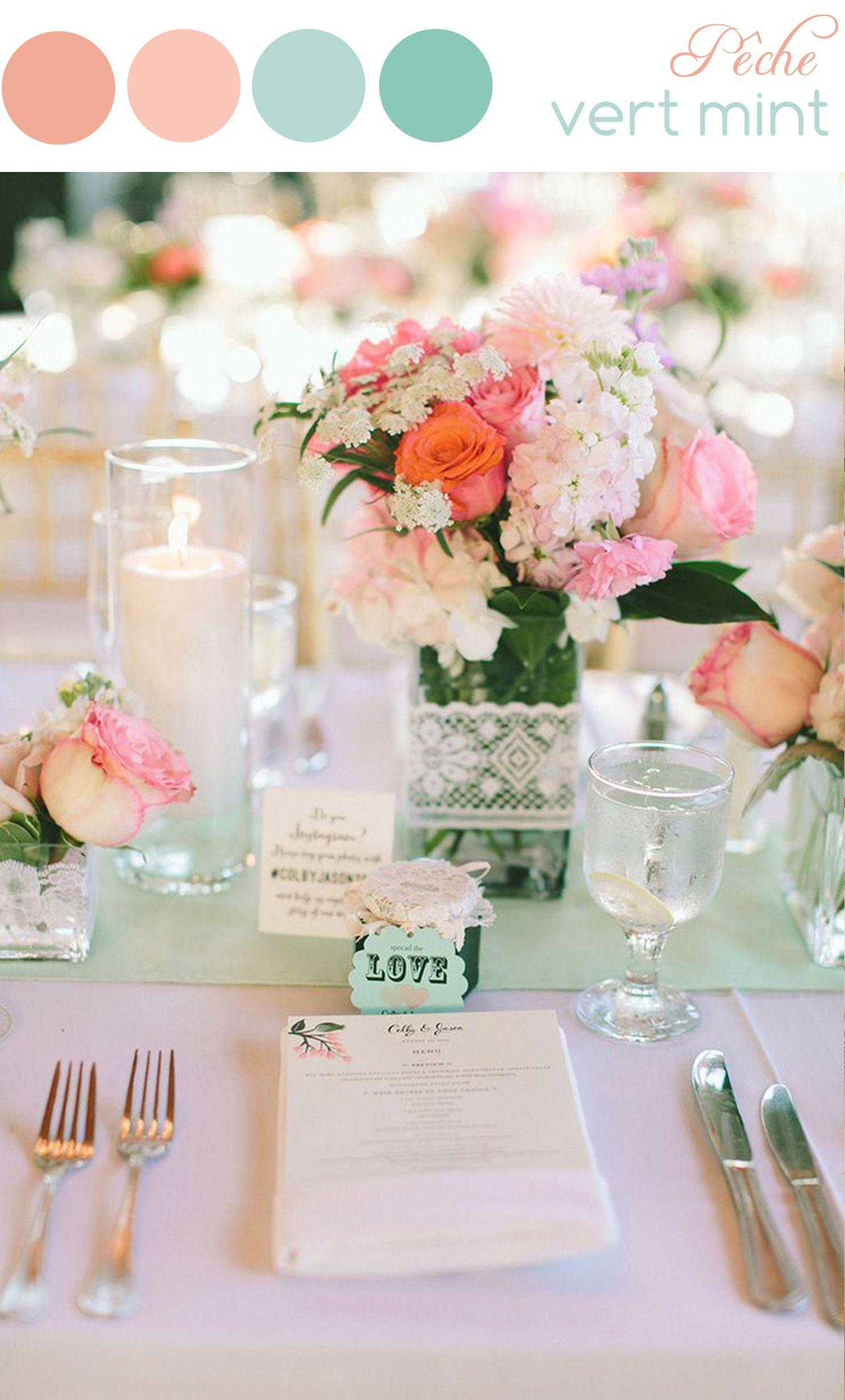 a dcouvrir sur notre blog une page tendance et des ides de dcoration de mariage dans les tons pastel couleurs pche et vert