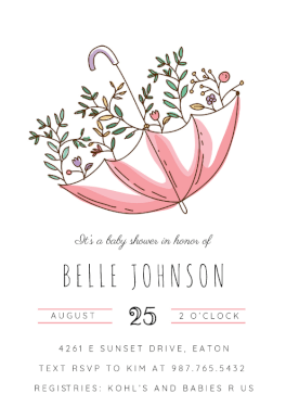 Baby Shower Invitations Free Templates Online Inspiration Umbrella Shower Printable Invitation Templatecustomize Add Text .