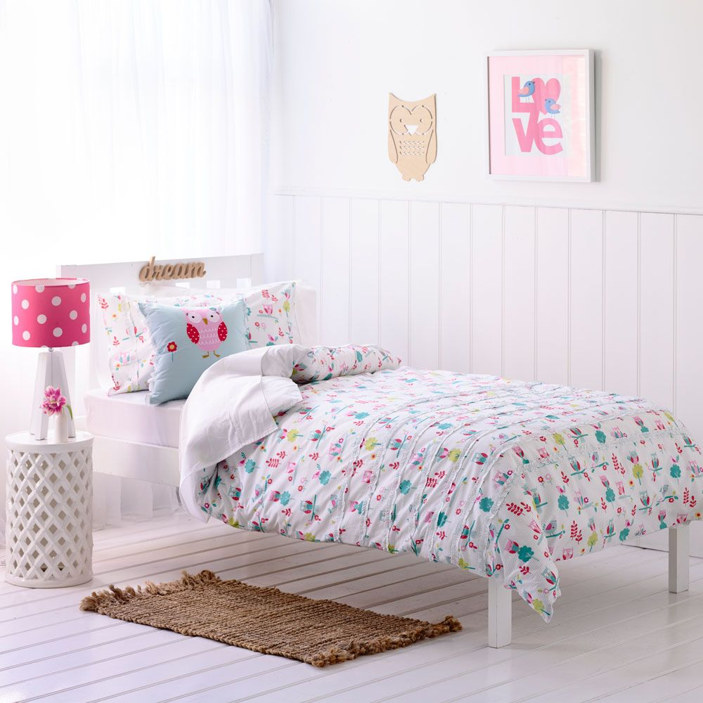Adairs Kids Girls Hooty Owl - Bedroom Quilt Covers & Coverlets ... : owl quilt cover - Adamdwight.com