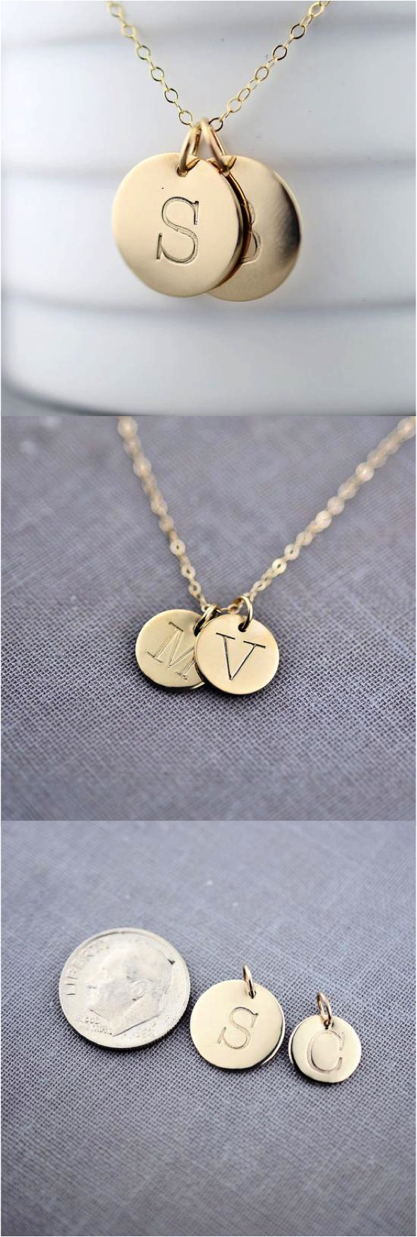 personalized twin solid gold initial necklace by lilyemmejewelry wear your favorite letter on a recycled solid gold pendant you may choose any capital