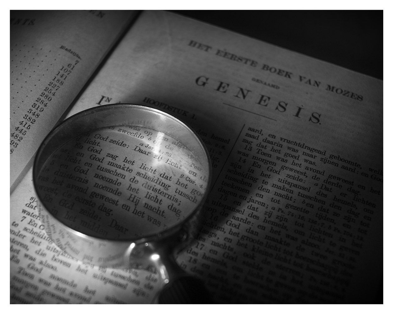 Still Life Photography Old Bible Magnifying Glass Black And White Genesis 5x7 Inch 8x10 Wall