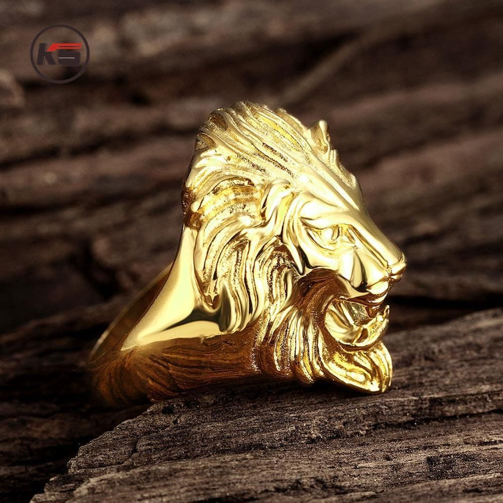 Ferocious Lion Ring-Gold