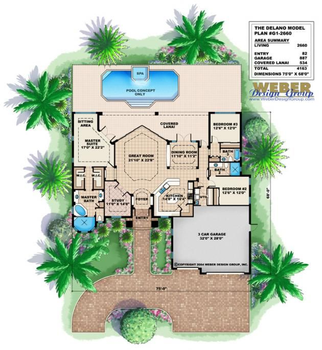 Delano Home Plan 3 Bed Bath 3 Car Garage Luxury Master Suite Pictures Florida House Plans Mediterranean Homes House Plans